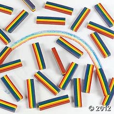 25 Rainbow Design Crayons. Via Oriental Trading Company.  Good as party favor with notepad.