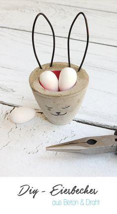 Ostern, Eierbecher, Osterhase, Beton, Draht, DIY, selber machen, kreativ, Osternest, basteln, Geschenk, Gingered Things, missfixx