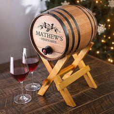 Personalized Boxed Wine Barrel Dispenser - Wine Enthusiast