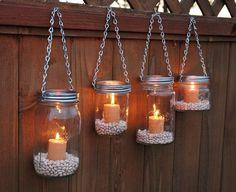Hanging Mason Jar Garden Lights DIY Lids Set by TheCountryBarrel I can do this…