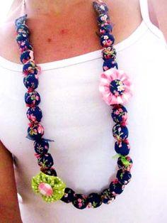 Collier Perles Tissu