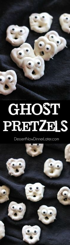 Screaming Ghost Pretzels are fun to make for Halloween! Ghost Pretzels - White chocolate dipped pretzels are made into ghosts with candy eyes and a little bit of imagination. Perfect for a Halloween party! Halloween Desserts, Halloween Party Snacks, Hallowen Food, Halloween Goodies, Snacks Für Party, Holidays Halloween, Halloween Kids, Halloween Cupcakes, Halloween Candy