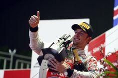 Jenson Button celebrates his victory at the Australian GP