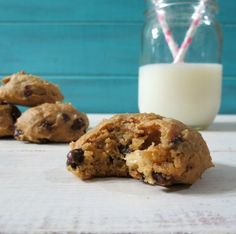 Peanut Butter Banana Nut Cookies - A healthy, moist cake like cookie made with banana, peanut butter, nuts and chocolate chips and sweetened with honey and brown sugar.