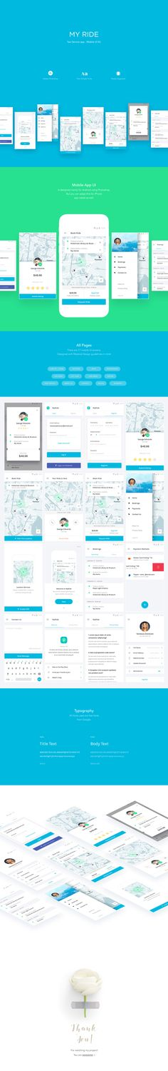 Using My Ride, a taxi app mobile UI kit, you could easily get started with your taxi service. This UI kit contains 17 mobile template comprised of all the important and necessary screens for your app to work smoothly. Created mainly for Android mobile devices with Google material design guidelines in mind. But it is adaptable for iOS as well.