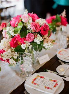 Summer wedding centerpiece idea - hot pink floral wedding centerpiece {CiBi Events}