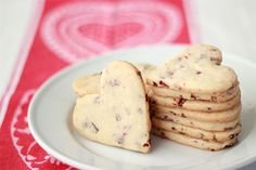 Cherry Almond Shortbread Heart Cookies. Definitely want to try (and maybe with dried cranberries instead of cherries?!)