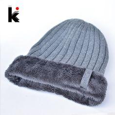 27fe05dbd79 2017 Winter Beanies Hats For Men Plus Wool Beanie Knitting Keep Warm Caps  Double-deck Toucas de inverno Hat 4 Color Cap