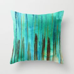 Beach Fence Throw Pillow by Janet Antepara #throwpillow #cushion #printedthrowpillow #Printedpillows #homedecor #home #painting #abstractart #turquoise #modernart #beach #beachfence #stripes #watercolors