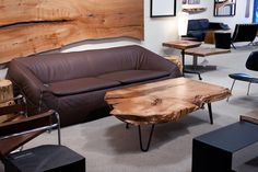 Solid slab coffee table.