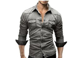 Mr.Macy Mens Autumn Casual Military Cargo Slim Button Long Sleeve Dress Shirt Top Blouse