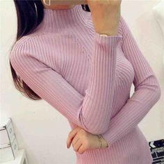 2017 Women Sweater Warm Autumn Winter New Slim Solid Half-height Collar Knit Sweaters Pullover Tops 6 Colors 61763