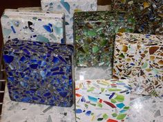 Recycled glass benchtop_Terrazzo tiles made of recycled glass and concrete Recycled Glass Countertops, Concrete Countertops, Kitchen Countertops, Recycling, Diy Recycle, Modular Furniture, Diy Furniture, Terrazzo Tile, Diy Kitchen