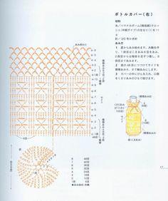 غطاء زجاجه بالكروشيه - bottel cover in crochet Crochet Jar Covers, Crochet Case, Crochet Purses, Free Crochet, Crochet Edging Patterns, Crochet Motif, Crochet Designs, Knitting Patterns, Knit Crochet