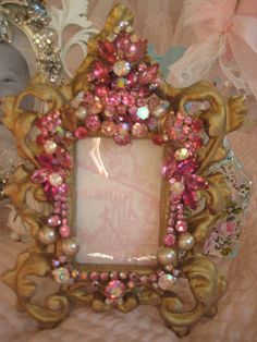 vintage pink Jeweled frame