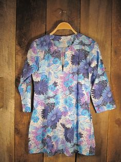 Tunic - Lavender Flowers on White