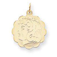 14k Girl Head on .013 Gauge Engraveable Scalloped Disc Charm - JewelryWeb JewelryWeb. $170.60. Save 50%!