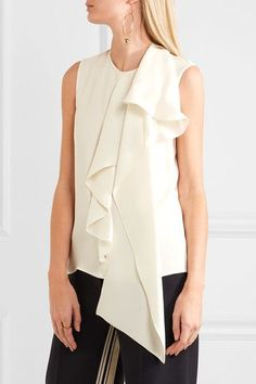Max Mara | Magda asymmetric draped silk crepe de chine top | NET-A-PORTER.COM