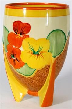 A Clarice Cliff Bizarre vase, shape number 452, decorated in Nasturtium pattern, printed factory