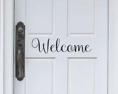 Welcome Door Decal - Front door decal - welcome Vinyl Decal - Front Door Sticker - Welcome Door Sticker - Welcome Wall Decal - Welcome Door
