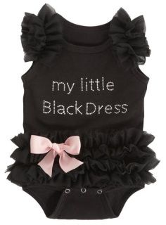 Black onsie with ruffles and silver rhinestone lettering.