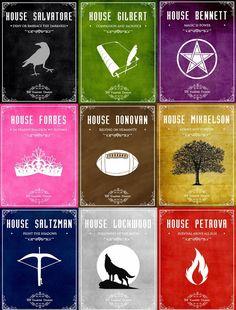 "#TVD The Vampire Diaries ""House Salvatore,House Gilbert,House Bennett,House Forbes,House Donovan,House Mikaelson,House Salvatore,House Lockwood,House Petrova"""