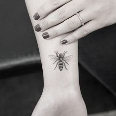 The Micro Honey Bee Tattoo. If you want a bee tattoo on your wrist, this kind and this size is definitely perfect.