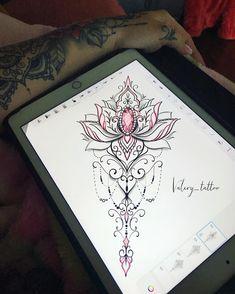 The image may contain: inside - Flower Tattoo Designs - Hand Henna Designs Mandala Tattoo Design, Henna Tattoo Designs, Flower Tattoo Designs, Flower Tattoos, Lotusblume Tattoo, Sternum Tattoo, Lace Tattoo, Lotus Tattoo, Trendy Tattoos