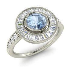 Round Aquamarine Halo Ring in 14k White Gold with VS Diamond ,SI Diamond