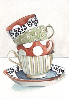 Original watercolor painting tea cups stacked patterns by HelgaMcL