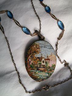 Italian Tourist Art Nouveau micro mosaic reversible brooch