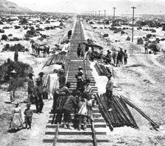Laying track on the CP r4ght of way in the late 1800s