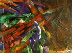 Título: The fate of the animals Año: 1913 Autor: Franz Marc (1880-1916) Esta obra titulada el destino de los animales, muestra una escena caótica en la que aparecen varios animales dispersos, las formas de los animales se entienden por ciertos rasgos que aparecen en la obra, genera una sensación de movimiento y se destacan trazos cruzados y el uso de una variedad de colores muy amplia.