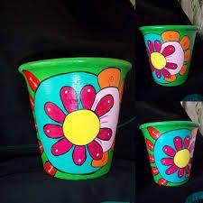 Resultado de imagen para macetas artesanales pintadas a mano