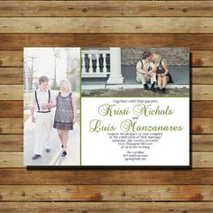 Custom Wedding Invitation with your picture (digital file) -- This would be cuter if the tall picture was replaced by flowers from the wedding theme.