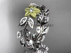 Platinum diamond flower leaf and vine wedding ring