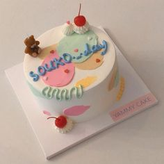 Pretty Birthday Cakes, Pretty Cakes, Beautiful Cakes, Seven Up Cake, Korean Cake, Pastel Cakes, Cute Baking, Surprise Cake, Hazelnut Cake