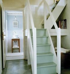 Bungalow Barn: Loft Stairs (The Lettered Cottage) - carolyn Small Staircase, Tiny House Stairs, Attic Stairs, Staircase Design, Cottage Stairs, Attic Floor, Stairs For Loft, Steep Staircase, Stair Design