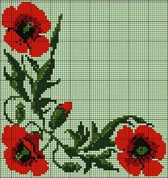 "Lovely little things: Embroidery cross: ""Poppies. … Lovely little things: Embroidery … - Tiny Cross Stitch, Cross Stitch Borders, Cross Stitch Flowers, Cross Stitch Charts, Cross Stitching, Cross Stitch Patterns, Flower Embroidery Designs, Embroidery Patterns, Hardanger Embroidery"