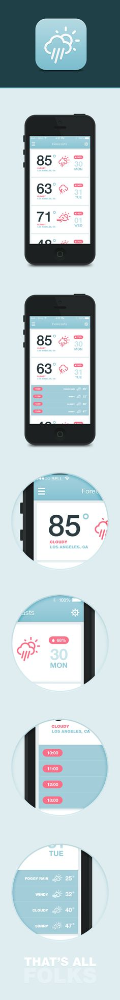 iOS7 Weather App by Dmitriy Haraberush, via Behance #ui