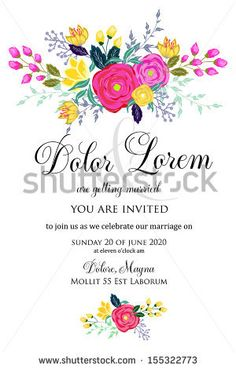 Invitation or wedding card with abstract floral background. by Wedding invitation cards, via Shutterstock