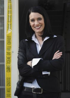 """Paget Brewster as Emily Prentiss in the set of ABC series """"Criminal Minds"""""""