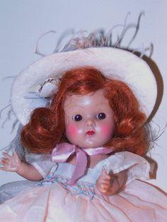 """VOGUE STRUNG GINNY """"ANGELA"""" 1952 Debutante Series #65 - Pretty Redhead L@@K #hardplasticstrungVogueGinnydollSLEEPEYE"""