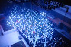 Grid, Suspended Kinetic light installation, Lyon