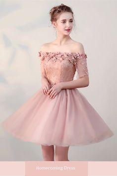 0cffa525d6  97.01 Dresswe.com SUPPLIES Cheap A Line Off The Shoulder Half Sleeve Lace-Up  Homecoming Dress