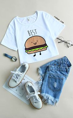 t-shirt with hamburger print and jeans and cute white sneakers . White t-shirt with hamburger print and jeans and cute white sneakers .,White t-shirt with hamburger print and jeans and cute white sneakers . Teenage Outfits, Outfits For Teens, Summer Outfits, Girls Fashion Clothes, Teen Fashion Outfits, Stem Challenge, Mode Streetwear, Western Outfits, Cute Casual Outfits