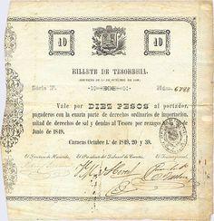 Pieza bbt10p-aa01-f4 (Anverso). Billete de Tesorería. 10 Pesos Fuerte. Diseño A, Tipo A. Fecha Octubre 01 1849. Serie F4