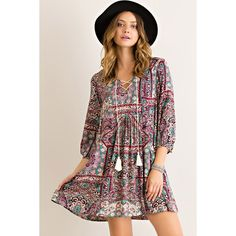 Entro Vintage Paisley Peasant Dress (£28) ❤ liked on Polyvore featuring dresses, paisley dress, vintage crochet dress, paisley print dress, rayon dress and lace up front dress