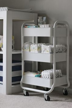 White Diaper Cart in Nursery / Nursery Organization