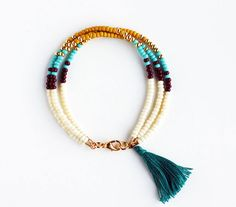 Multicolor Beaded Friendship Bracelet with Tassel - Cream Chocolate Butterscotch Yellow Turquoise Gold Peacock Green - Southwestern Jewelry, on ETSY